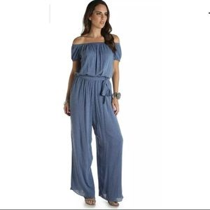 NWT Wrangler chambray Small Jumpsuit Blue Belted